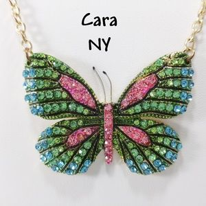 Butterfly Rhinestone Green & Pink Pendant Necklace